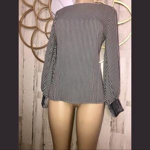 Ann Taylor Black White Stripe Blouse Small